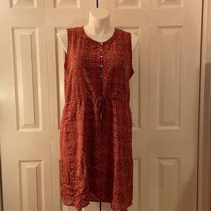 Lucky Brand Red Blue Sleeveless Dress XL